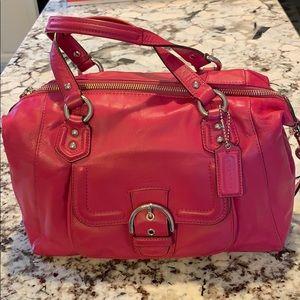 Coach satchel pink purse hand and shoulder straps